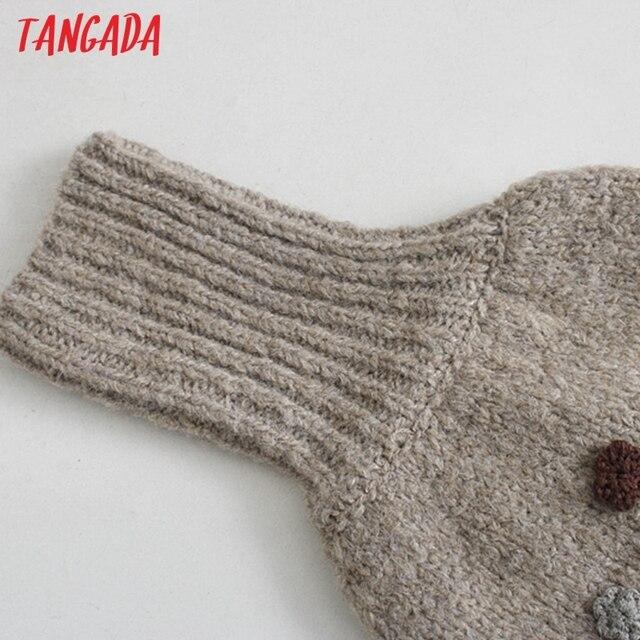 Tangada Women Beading Flowers Turtleneck Sweater Jumper Female Elegant Oversize Pullovers Chic Tops 3L68 3