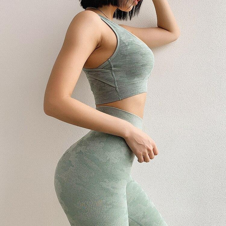 H184958d3e3034b0d859ac3f339a87192I Camouflage Camo Set Wear For Women Gym Fitness Clothing Booty Leggings Sport Bra Suit