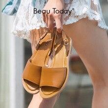BeauToday Gladiator Sandals Women Calfskin Genuine Leather B