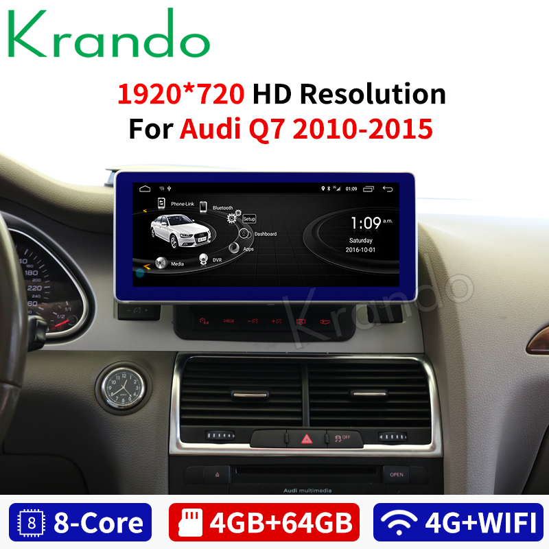 Krando Android 8.1 10.25'' For Audi Q7 2009-2015 Car Radio Player Gps Navigation Multimedia Player