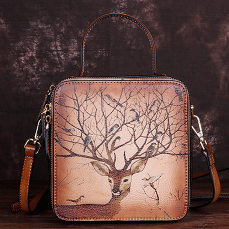 Real Cowhide Women Messenger Shoulder Bag Flap Deer Pattern Crossbody Handbag High Quality Small Genuine Leather Female Tote Bag