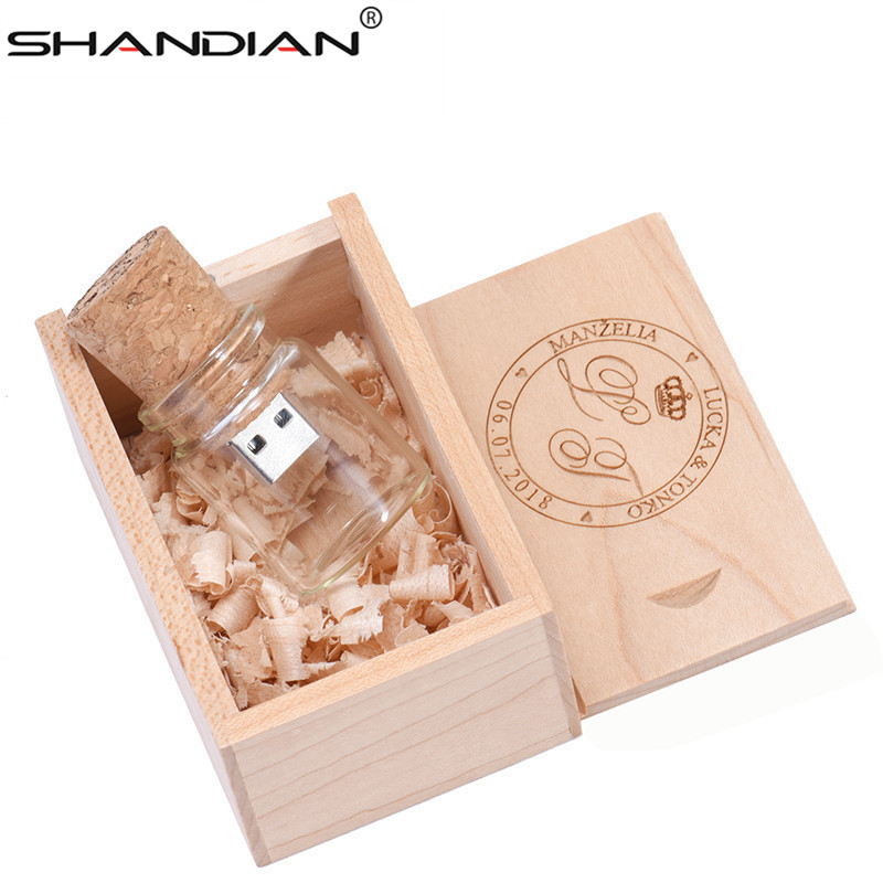 SHANDIAN 1PCS Free Custom Logo Glass Bottle USB+BOX Flash Drive Pendrive 64GB 32GB 16GB 4G Memory Stick Photography Wedding Gift