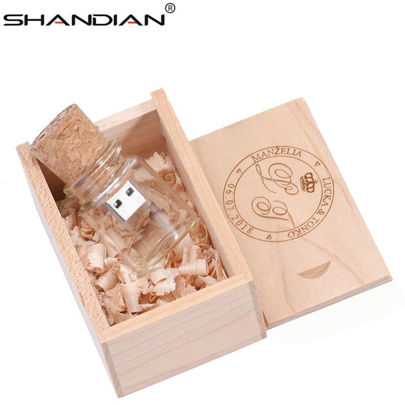 SHANDIAN 1PCS Free Custom Logo Glass Bottle USB+BOX Flash Drive Pendrive 64GB 32GB 16GB 4G Memory Stick Photography Wedding Gift