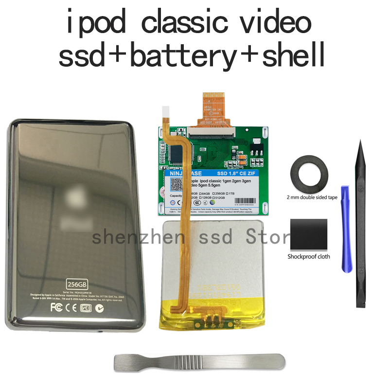New SSD 32G 64G 128G 256G 512G 1TB For Ipod classic 7Gen Ipod video 5th Replace MK3008GAH MK8010GAH MK1634GAL Ipod HDD free tool