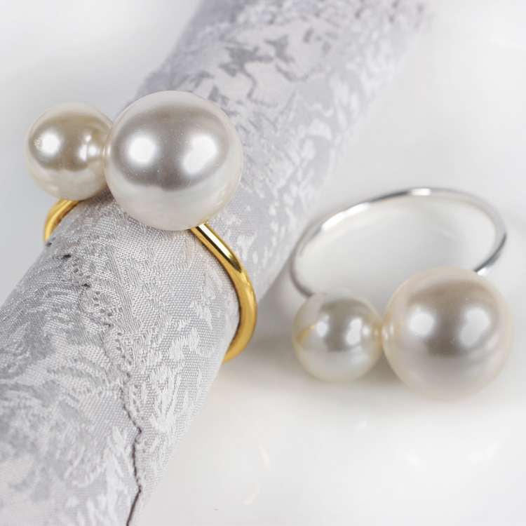 12PCS hotel set table wire towel buckle pearl napkin ring