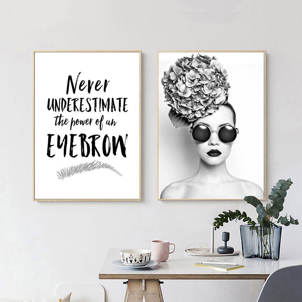 Eyebrow Canvas Poster Makeup Wall Art Painting Audrey Hepburn Print Beauty Salon Poster Black And White Wall Pictures Home Decor