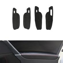 RHD 4pcs Car Microfiber Leather Door Handle Panel / Center Armrest Cover Trim For VW Golf 7 2014 2015 2016