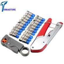 Multitool Wire Stripping Squeezing Pliers Coaxial Cable Cold Press Clamp RG59 RG6 Cable TV Crimping Tool Set with 20 F Heads f head cable tv connector do line tools extruding wire stripping knife with 10 inch booster for f head