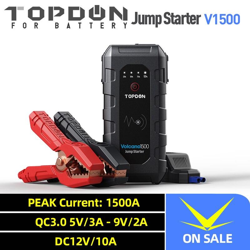 Topdon V1500 démarreur de saut de voiture dispositif de démarrage batterie batterie externe 1500A