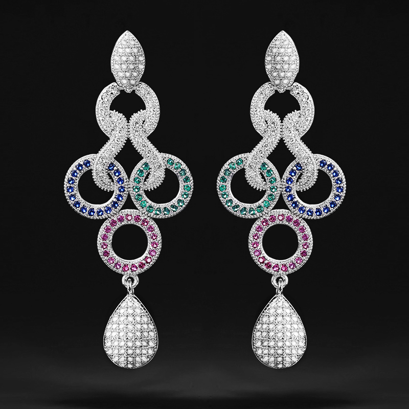 Huitan Trendy Long Drop Earring for Women Elegant Style Colorful Earring Engagement Party Female Noble Earring Gift High Quality