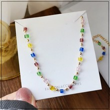 LANIWOO Colorful Beads Clavicle Necklace SK 2021 Summer Fresh Style New Fashion Jewelry For Girls Women Accessory