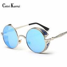 Catei Karrui High Quality UV400 Eyewear Metal Steampunk Sunglasses Men Women Fas