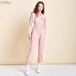 ARTKA 2020 Frühling Neue Frauen Overall 100% Baumwolle Mode Hohe Taille Taste Overall mit Gürtel Weibliche Casual Overalls KA25005C