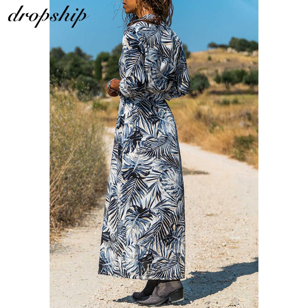 Dropship 여성 여름 맥시 드레스 Boho 비치 롱 드레스 여성용 플러스 사이즈 Floral Sundress Ladies Holiday Wrap Dress Vestidos