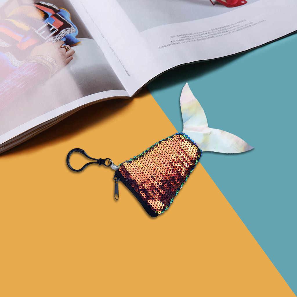 2019 hohe Qualität Frauen Mode Meerjungfrau Keychain Nette Pailletten Geldbörse Schulter Brieftasche Mini Tasche Unterstützung Großhandel Dropshipping