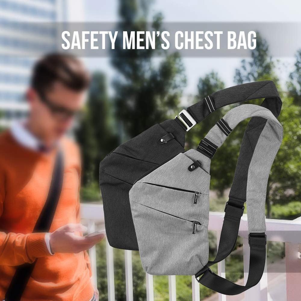 Men Travel Business  Bag Burglarproof Shoulder Bag Holster Anti Theft Security Strap Digital Storage Chest Bags