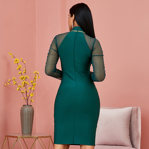 Image 3 - Spring Green Long Sleeve Bodycon Bandage Dress Women Sexy Hollow Out Mesh Dresses Autumn Celebrity Evening Runway Party Vestidos