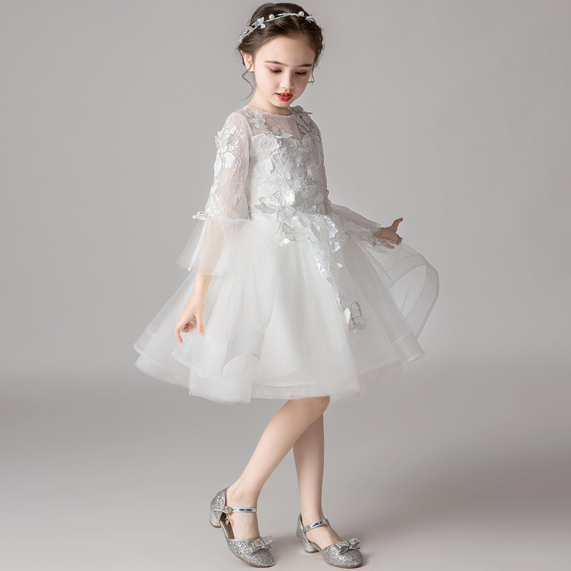 Dresses Of Bride Fellow Kids Princess Dress Girls White Piano Costume Little Girl Western Style Children Wedding Dress Birthday