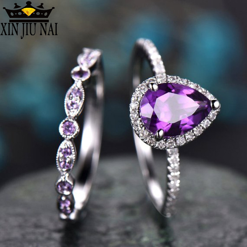 European Style Woman Genuine Purple Amethyst Gemstone Silver Ring Size 6-10