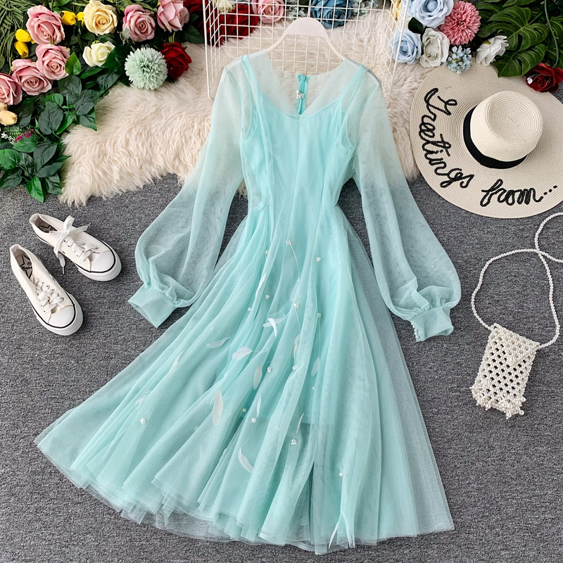 Young Gee Elegant Spring V-neck Lantern Sleeve Applique Feather Mesh Fairy Dress Women Mesh Midi Flare Swing Dresses Vestidos