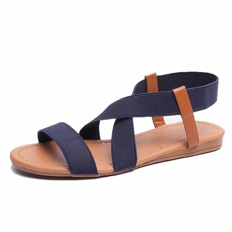 フラットサンダルの女性の靴グラディエーターオープントゥ弾性フラットサンダル女性カジュアル女性のフラットプラットフォームの浜の靴