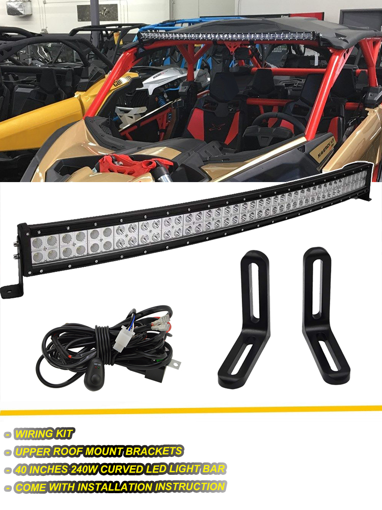 """For Can-Am Maverick X3 MAX Turbo 42/"""" Curved LED Light Bar+Roof Mount Brackets"""