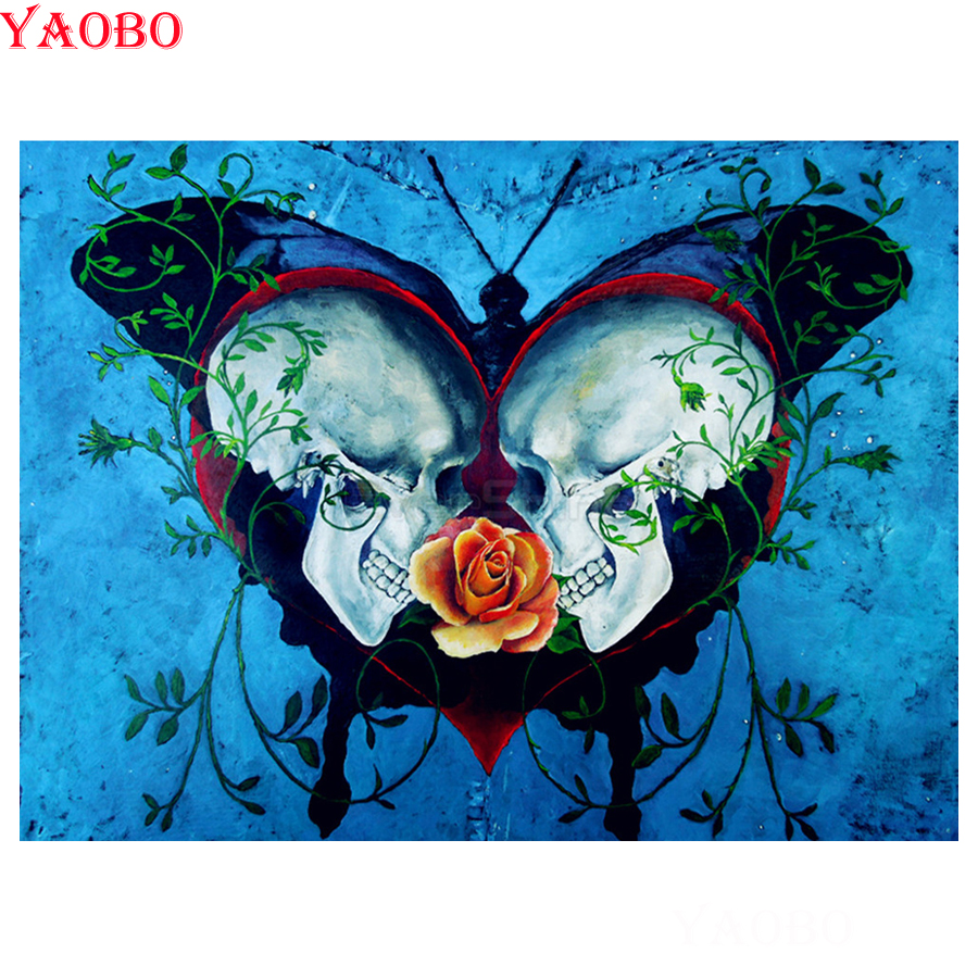 DIY Diamond Painting Rhinestone 5D Embroidery Cross Stitch Arts for Craft Home Decoration Butterfly Skull 30 x 40 cm