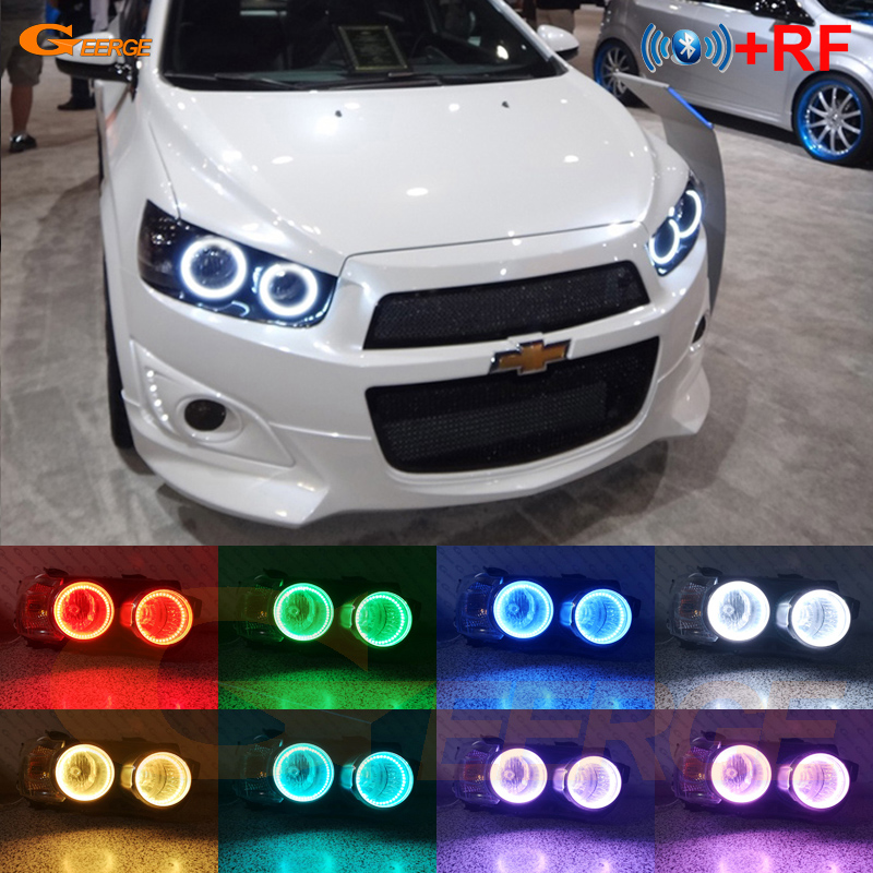 RF Remote Bluetooth APP Multi-Color Ultra Bright RGB LED Angel Eyes Kit For Chevrolet AVEO Sonic T300 2011-2015 Pre Facelift