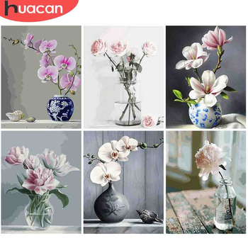 HUACAN Oil Painting By Numbers Flowers Coloring Pictures By Number Drawing On Canvas Handcraft Paintings Gift Kits Home Decor