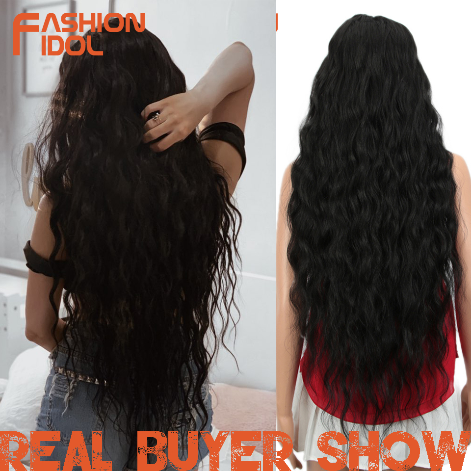 FASHION IDOL Hair Synthetic Wig Loose Wave Black 38 Inch Ombre Blonde Deep Wave Super Long Wavy Synthetic Wigs For Black Women title=