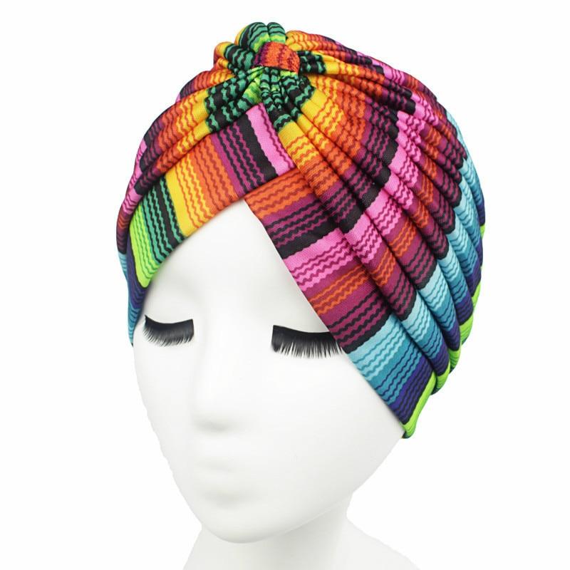 Colorful Striped Lady Turban Hat Fashion Muslim Women Hijab Indian Style Head Wrap Cap Hat Hair Cover Headband Inner Turban Cap