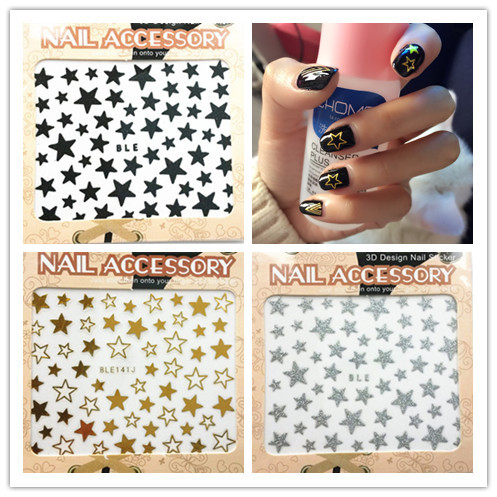 Nail Ornament Adhesive Paper Shimmering Powder Five-pointed Star Gold And Silver Hollow Out Five-pointed Star Nail Decals Manicu