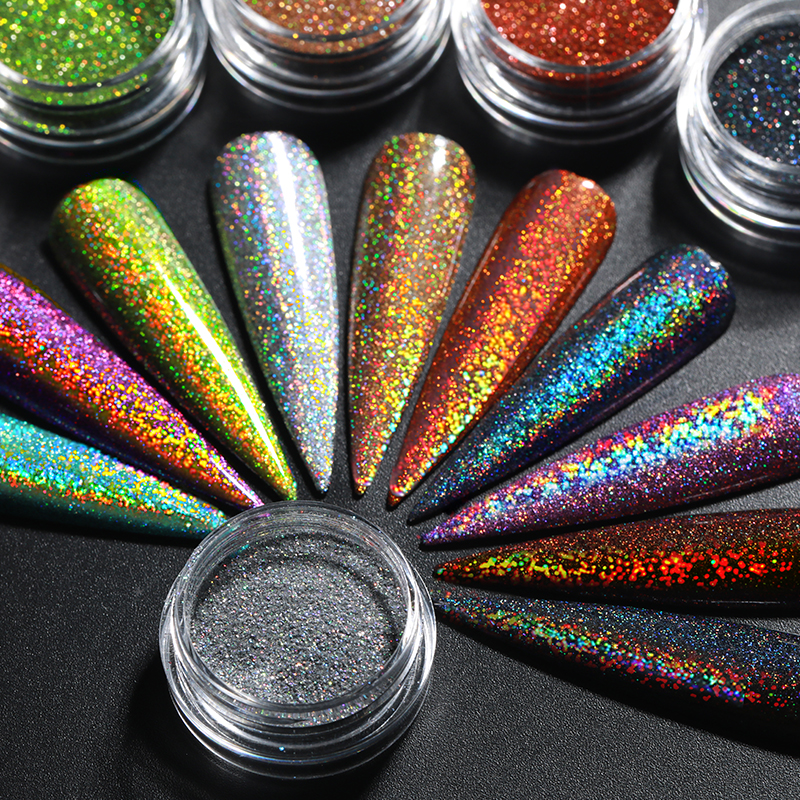 1 Box Holographics Nail Glitter Powder Sparkly Shinning Chrome Dust Pigment For UV Gel Holo Nail Manicuring Art Decoration