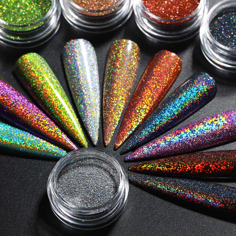 1 Box hologram brokat do paznokci świecący Shinning chromowany Pigment do kurzu do żelu UV Holo Nail manicure artystyczna dekoracja