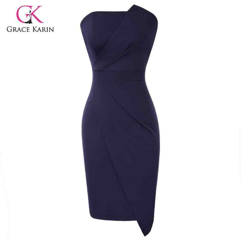GRACE KARIN Womens One Off Shoulder Sleeveless Hips-Wrapped Bodycon Pencil Dress Swing Party Cocktail Dress