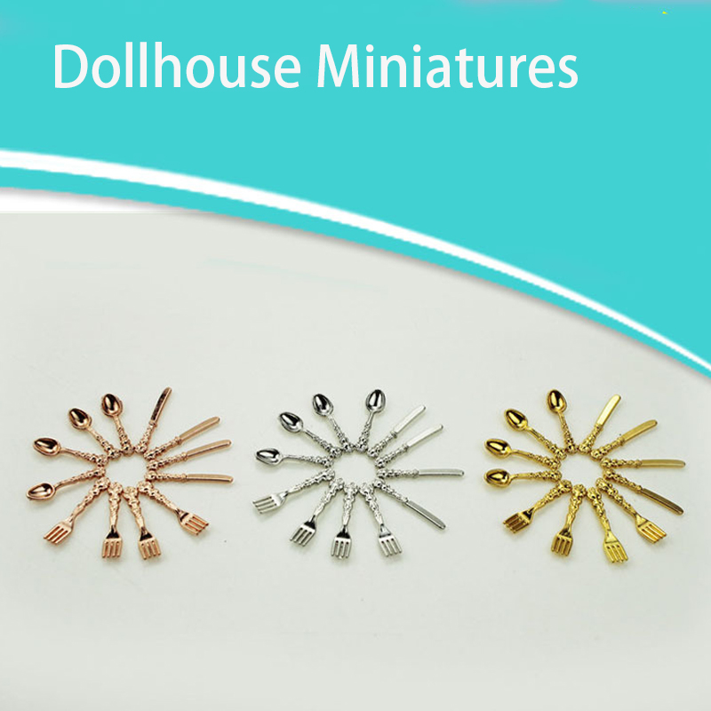 12PCS/set Mini Vintage Dollhouse Miniatures Tableware Cutlery Gold Silver Knife Fork Spoon Childrens Toy Doll House Decor
