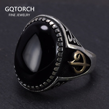 Large 925 Sterling Silver Signet Rings For Men Arabic Elif Vav With Natural Stone Black Onyx Tiger Eyes Turkish Allah Jewelry
