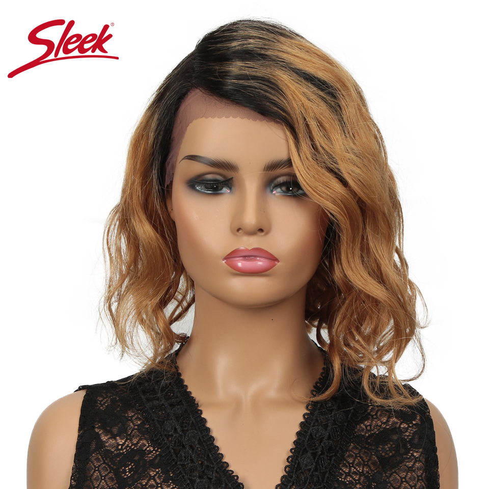Sleek Short Human Hair Wigs Water Wave 100% Remy Brazilian Hair Wigs TT1B/30 Ombre Lace Wigs L Part Lace Wigs 12 Inch Curl Wig