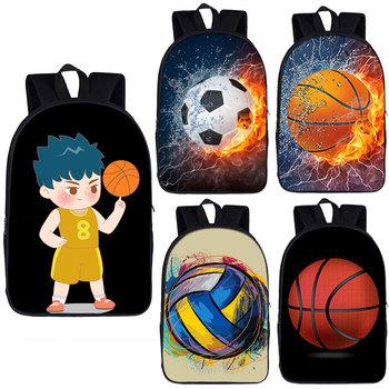 Piłka nożna wzór koszykówki tornistry dla nastoletnich chłopców koszykówka drukuj plecaki szkolne dzieci niestandardowe torby szkolne torby na książki tanie i dobre opinie NYLON CN (pochodzenie) Other Unisex Miękka 20-35 litr Kieszeń na telefon komórkowy Wewnętrzna kieszeń Wnętrza przedziału