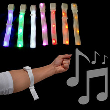 цены LED Nylon Bracelets glowing flash lighting Nylon Wristband with Sound Control free shipping 50pcs/lot