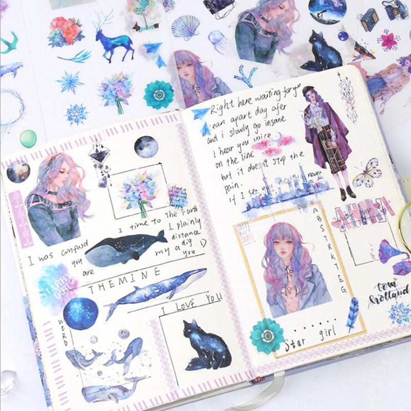6 Sheets / Pack Of Creative Starry Girl Stickers Diary Decoration Tags DIY Stickers Children'S Stationery Supplies Gifts
