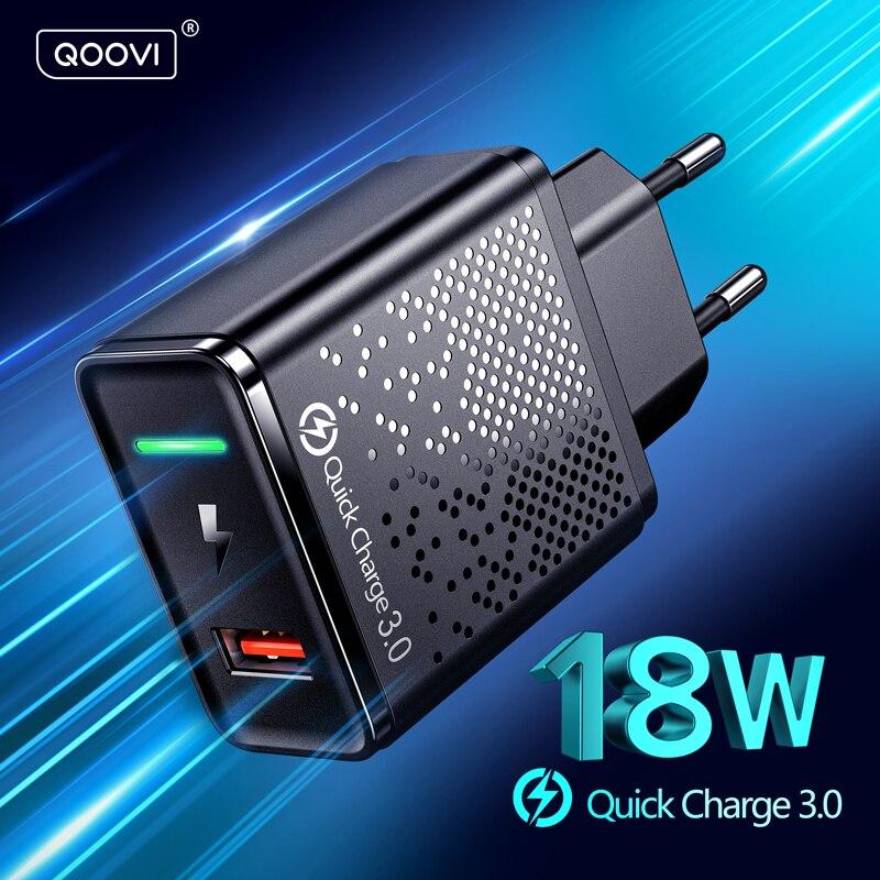Cargador USB de 18W, enchufe europeo QC 3,0, Cargador rápido, adaptador de pared Universal para teléfono móvil, carga rápida para iPhone 11, Samsung, Xiaomi, Redmi