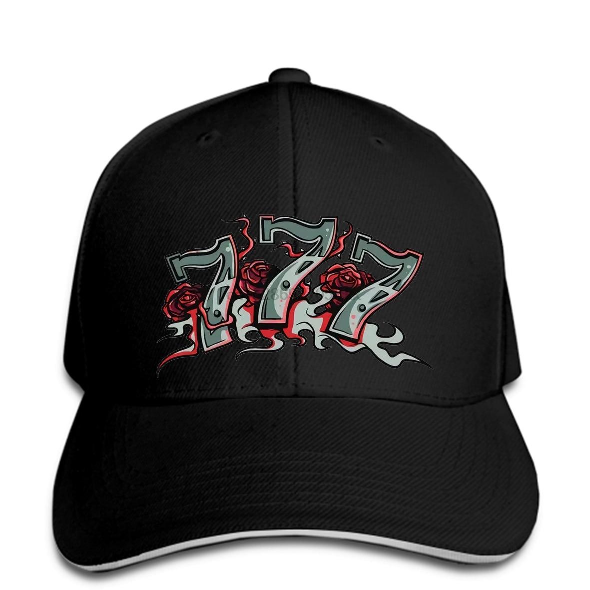 Crazy Casino Los Vegas Jackpot Lucky No. 777 Roses Gambling Mens White Baseball Cap Snapback Hat Peaked