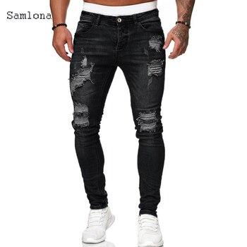 Samlona Jeans Mens Fashion Skinny Denim Pant Male 2020 Hole Ripped Pants Streetwear Male Denim Jeans Blue Grey Pencil Trousers ligao men s jeans trendy leisure elastic slim pencil pants trousers male denim pant royal blue mens jeans vaqueros plus size