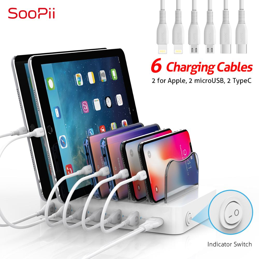 Soopii Premium 50W/10A 6 Port USB Charging Station for Multiple Devices, 6 Cables(2 Apple&2 Micro&2 Type C) Included