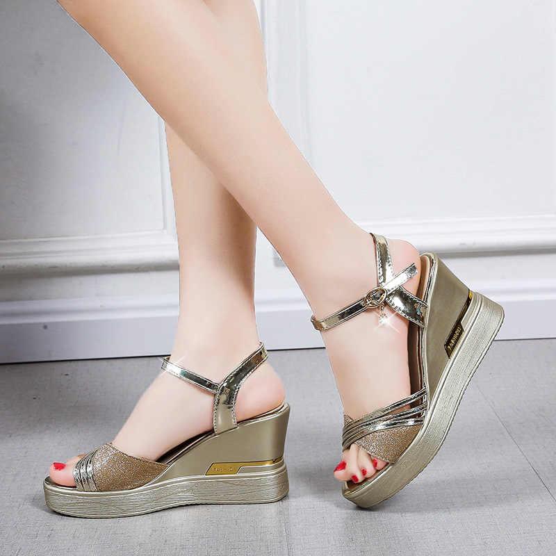 Nouveau Classique femme Argent Lanières Talons Compenses Plateforme Chaussures