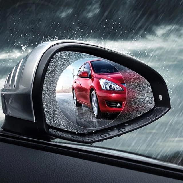 2PCS Cars Rearview Mirror Window Protective Film Car Accessories Interior Anti Fog Membrane Waterproof Rainproof Auto