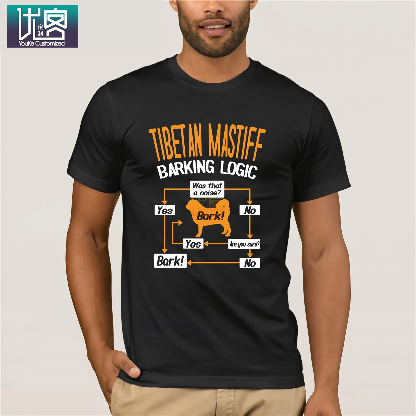 Tibetan Mastiff Barking Logic 2019 Summer Men's Short Sleeve T-Shirt O Neck Cotton Tees Tops Funny Tees Cotton Tops T Shirt