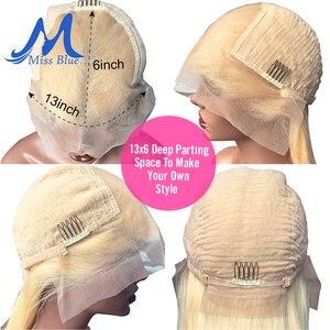 Image 3 - Missblue perruques cheveux naturels brésilien, Lace Front Transparent, pre plucked, courte coupe Bob Blonde 613, 13x6, pour femmes africaines