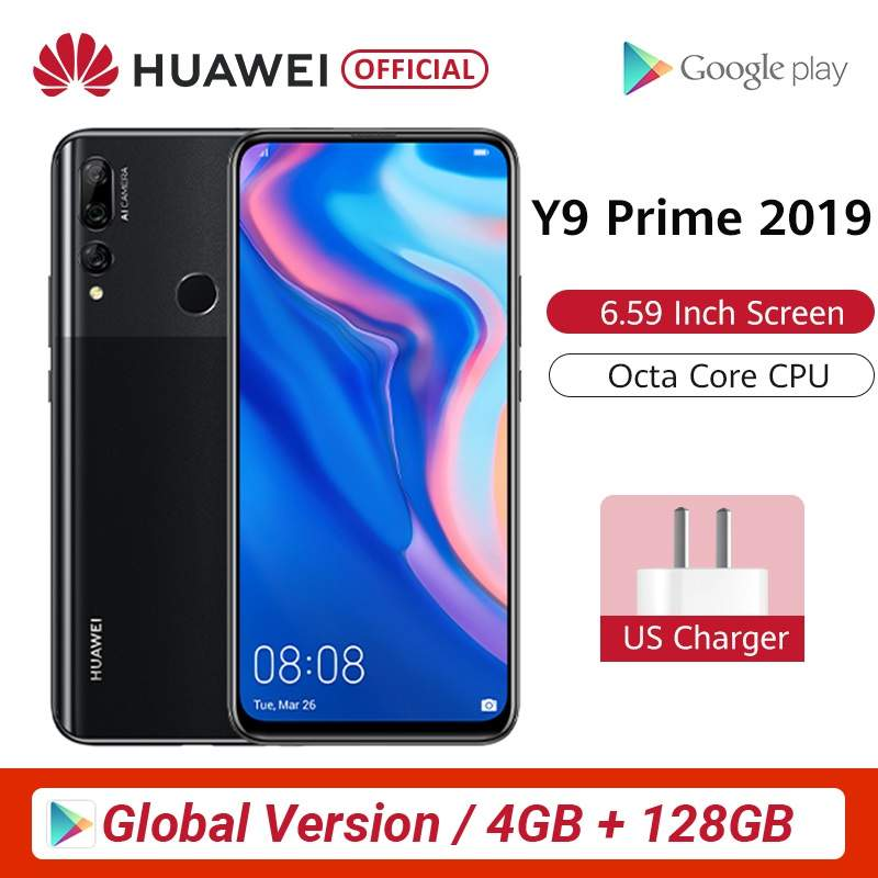 """Global Version Huawei Y9 Prime 2019 4GB 128GB Smartphone AI Triple Rear Cameras Auto Pop Up Front Camera 6.59"""" Cellphone"""